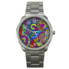 Pop Art Paisley Flowers Ornaments Multicolored Sport Metal Watch by EDDArt
