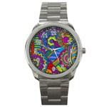 Pop Art Paisley Flowers Ornaments Multicolored Sport Metal Watch