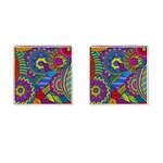 Pop Art Paisley Flowers Ornaments Multicolored Cufflinks (Square)