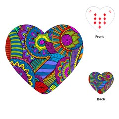 Pop Art Paisley Flowers Ornaments Multicolored Playing Cards (heart)  by EDDArt