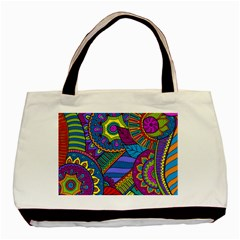 Pop Art Paisley Flowers Ornaments Multicolored Basic Tote Bag by EDDArt