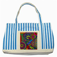 Pop Art Paisley Flowers Ornaments Multicolored Striped Blue Tote Bag by EDDArt