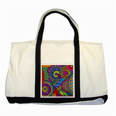 Pop Art Paisley Flowers Ornaments Multicolored Two Tone Tote Bag by EDDArt