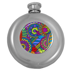 Pop Art Paisley Flowers Ornaments Multicolored Round Hip Flask (5 Oz) by EDDArt
