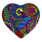 Pop Art Paisley Flowers Ornaments Multicolored Heart Ornament (2 Sides)