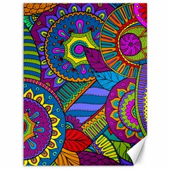 Pop Art Paisley Flowers Ornaments Multicolored Canvas 36  X 48   by EDDArt