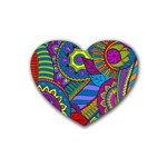 Pop Art Paisley Flowers Ornaments Multicolored Heart Coaster (4 pack)
