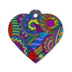 Pop Art Paisley Flowers Ornaments Multicolored Dog Tag Heart (two Sides) by EDDArt