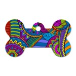 Pop Art Paisley Flowers Ornaments Multicolored Dog Tag Bone (Two Sides)