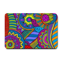 Pop Art Paisley Flowers Ornaments Multicolored Small Doormat  by EDDArt