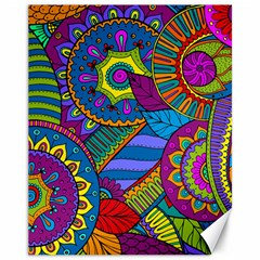 Pop Art Paisley Flowers Ornaments Multicolored Canvas 11  X 14   by EDDArt