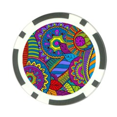 Pop Art Paisley Flowers Ornaments Multicolored Poker Chip Card Guards by EDDArt