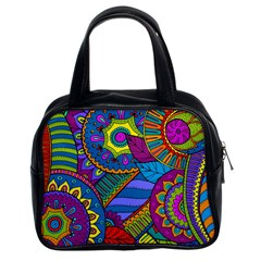 Pop Art Paisley Flowers Ornaments Multicolored Classic Handbags (2 Sides) by EDDArt