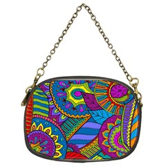 Pop Art Paisley Flowers Ornaments Multicolored Chain Purses (two Sides)  by EDDArt