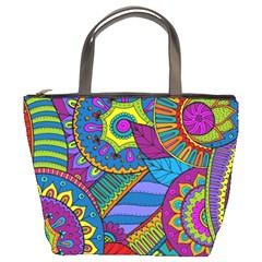 Pop Art Paisley Flowers Ornaments Multicolored Bucket Bags by EDDArt