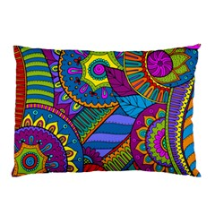 Pop Art Paisley Flowers Ornaments Multicolored Pillow Case by EDDArt