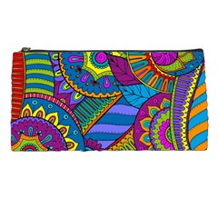 Pop Art Paisley Flowers Ornaments Multicolored Pencil Cases by EDDArt