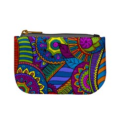 Pop Art Paisley Flowers Ornaments Multicolored Mini Coin Purses by EDDArt