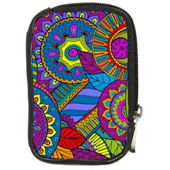 Pop Art Paisley Flowers Ornaments Multicolored Compact Camera Cases by EDDArt
