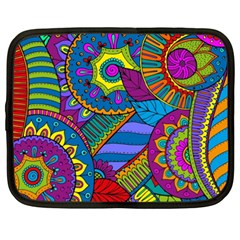 Pop Art Paisley Flowers Ornaments Multicolored Netbook Case (xxl)  by EDDArt
