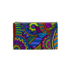 Pop Art Paisley Flowers Ornaments Multicolored Cosmetic Bag (small)  by EDDArt