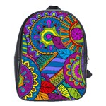 Pop Art Paisley Flowers Ornaments Multicolored School Bags(Large)