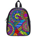 Pop Art Paisley Flowers Ornaments Multicolored School Bags (Small)