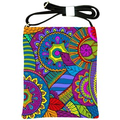 Pop Art Paisley Flowers Ornaments Multicolored Shoulder Sling Bags by EDDArt