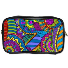 Pop Art Paisley Flowers Ornaments Multicolored Toiletries Bags 2 Side by EDDArt