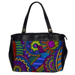 Pop Art Paisley Flowers Ornaments Multicolored Office Handbags by EDDArt
