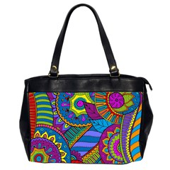 Pop Art Paisley Flowers Ornaments Multicolored Office Handbags (2 Sides)  by EDDArt