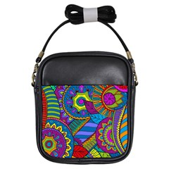 Pop Art Paisley Flowers Ornaments Multicolored Girls Sling Bags by EDDArt