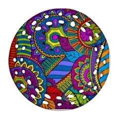 Pop Art Paisley Flowers Ornaments Multicolored Ornament (round Filigree)  by EDDArt