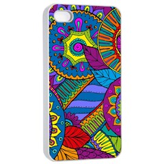 Pop Art Paisley Flowers Ornaments Multicolored Apple Iphone 4/4s Seamless Case (white) by EDDArt