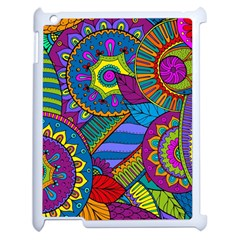 Pop Art Paisley Flowers Ornaments Multicolored Apple Ipad 2 Case (white) by EDDArt