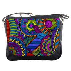 Pop Art Paisley Flowers Ornaments Multicolored Messenger Bags by EDDArt