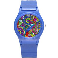 Pop Art Paisley Flowers Ornaments Multicolored Round Plastic Sport Watch (s) by EDDArt