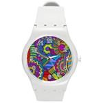Pop Art Paisley Flowers Ornaments Multicolored Round Plastic Sport Watch (M)