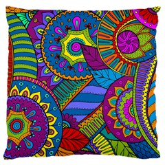 Pop Art Paisley Flowers Ornaments Multicolored Large Cushion Case (one Side) by EDDArt