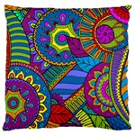 Pop Art Paisley Flowers Ornaments Multicolored Large Cushion Case (Two Sides)