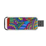 Pop Art Paisley Flowers Ornaments Multicolored Portable USB Flash (One Side)
