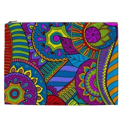 Pop Art Paisley Flowers Ornaments Multicolored Cosmetic Bag (xxl)  by EDDArt