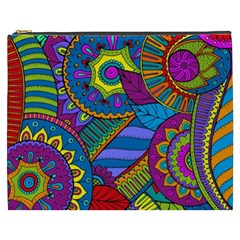 Pop Art Paisley Flowers Ornaments Multicolored Cosmetic Bag (xxxl)  by EDDArt