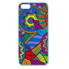 Pop Art Paisley Flowers Ornaments Multicolored Apple Seamless Iphone 5 Case (color) by EDDArt