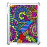 Pop Art Paisley Flowers Ornaments Multicolored Apple iPad 3/4 Case (White)