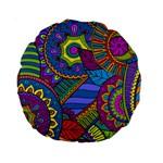 Pop Art Paisley Flowers Ornaments Multicolored Standard 15  Premium Round Cushions