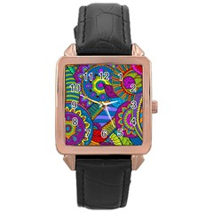 Pop Art Paisley Flowers Ornaments Multicolored Rose Gold Leather Watch  by EDDArt