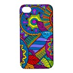 Pop Art Paisley Flowers Ornaments Multicolored Apple iPhone 4/4S Hardshell Case with Stand