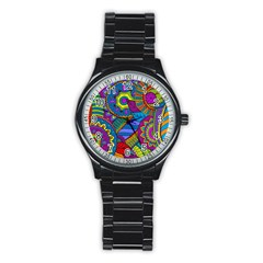Pop Art Paisley Flowers Ornaments Multicolored Stainless Steel Round Watch by EDDArt