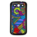 Pop Art Paisley Flowers Ornaments Multicolored Samsung Galaxy S3 Back Case (Black)